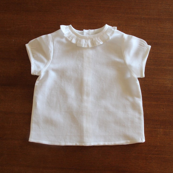 Narrow Ruffle Shirt, Baby Boy, Baby Girl, Linen, Short Sleeve Shirt, Toddler, Size 3m-3yrs, Made to Order