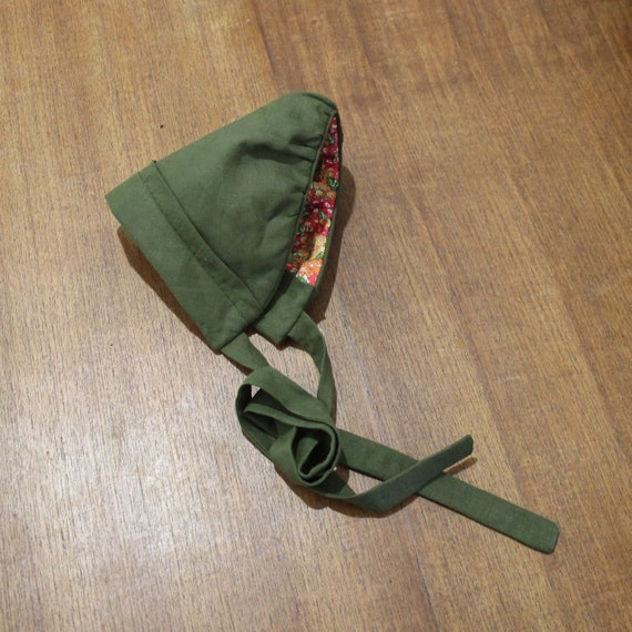 Lily, Handmade Liberty & Linen Reversible Scat Style Bonnet, High Back.