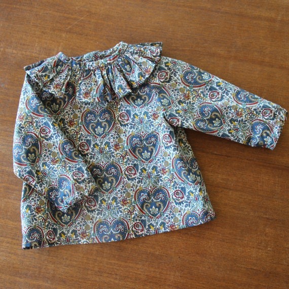 Ruffle Shirt, Baby Boy, Baby Girl, Liberty of London, Kitty Grace, Long Sleeve Shirt, Toddler, Size 3m-3yrs, Made to Order