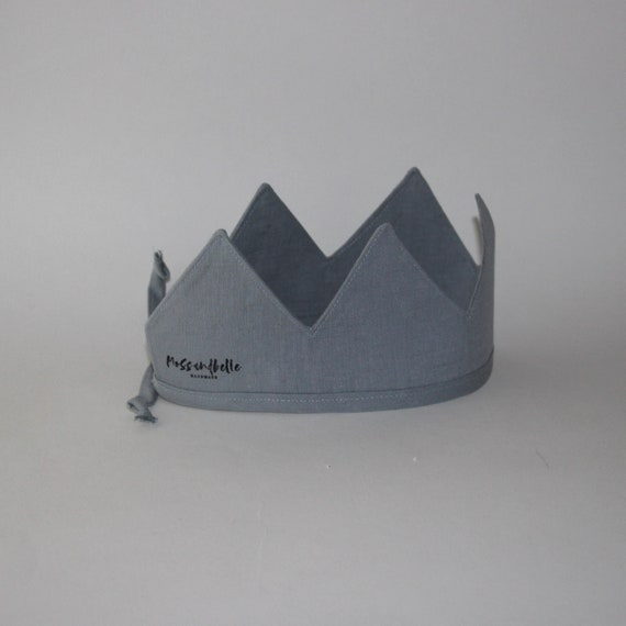 Linen Crown, Birthday, 1st Birthday, Photo Prop, Duck Egg Blue, Fabric Crown, Kids Crown, Size Short