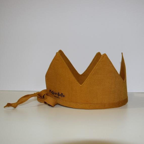 Linen Crown, Birthday, 1st Birthday, Photo Prop, Mustard, Fabric Crown, Kids Crown, Size Short