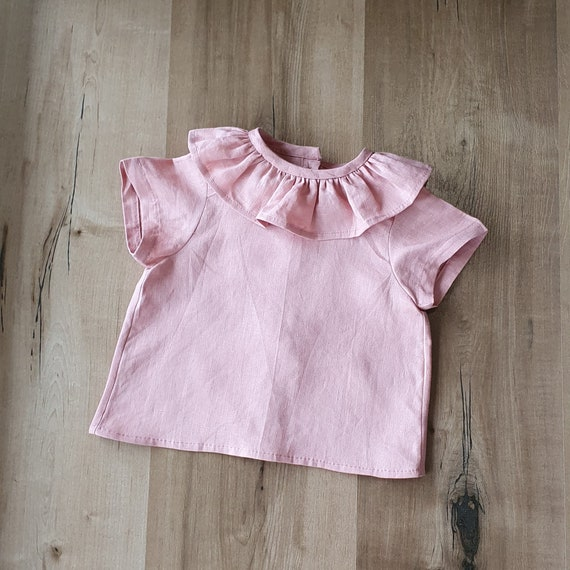Pink Ruffle Shirt, Baby Girl, Linen, Short Sleeve Shirt, Toddler, Size 3m-3yrs, Made to Order