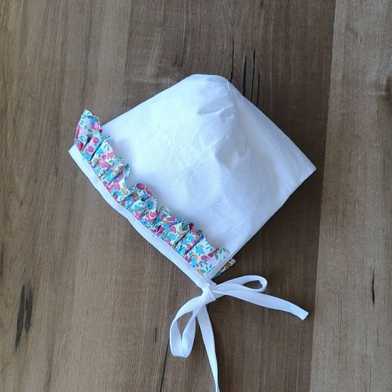 Liberty & Linen Baby Bonnet, With Front Ruffle Trim,