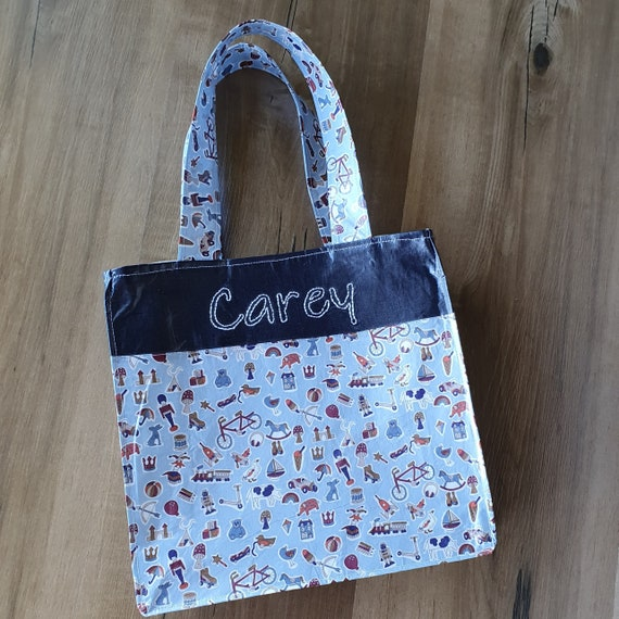 Boys Personalised Liberty Toy Bag, Tote Bag, Vinyl Coated,