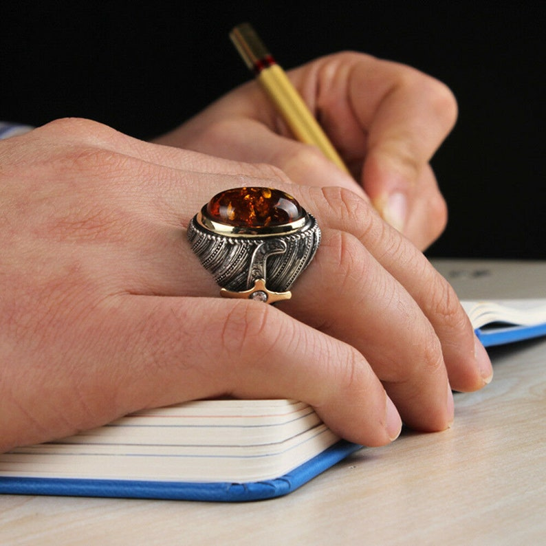 Hand Made pure 925 Silver Sterling men Ring with Amber stone N-Z UK sizes weight 20Gram Recommend Retail price 40pound