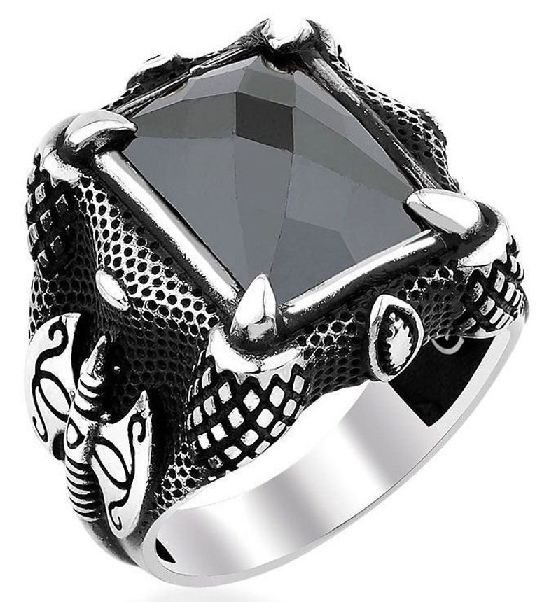 Hand Made pure 925 Silver Sterling men Ring with Black Crystal Stone weight 12 gr N to Z UK sizes Recommend Retail Price 30 pound