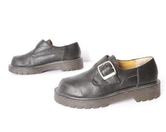 cc297804e9e vintage women s BLACK leather BUCKLE mary jane s Dr. Marten style women s  grunge goth platform shoes