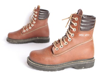 vintage WOMEN S justin style combat hiking boots calf high brown leather  women s size 7.5 vintage boots 2cb05a6d42