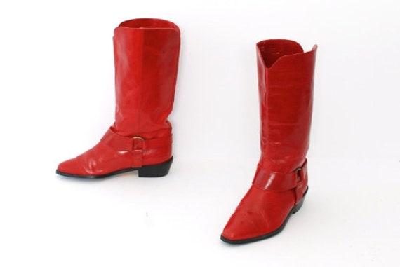 vintage women's 1980s red COWBOY BOOTS -- women's