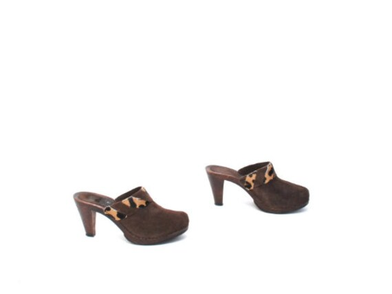 vintage WOMEN'S brown cowhide MULES size 7 slip o… - image 5