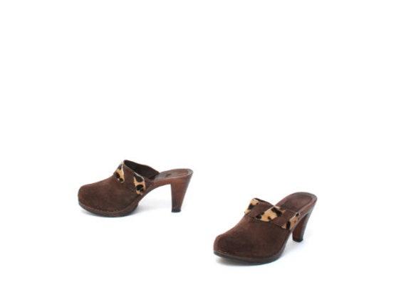 vintage WOMEN'S brown cowhide MULES size 7 slip o… - image 2