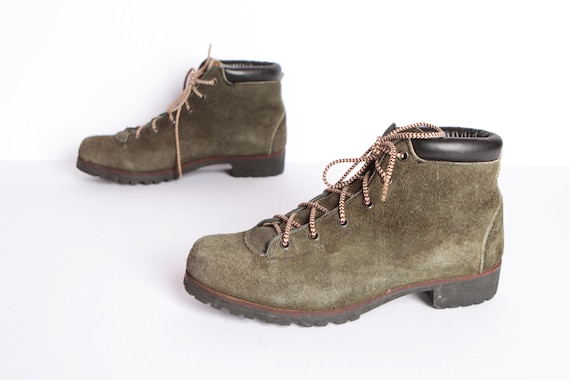 vintage ITALIAN olive green suede HIKING boots mid century women's US size 7