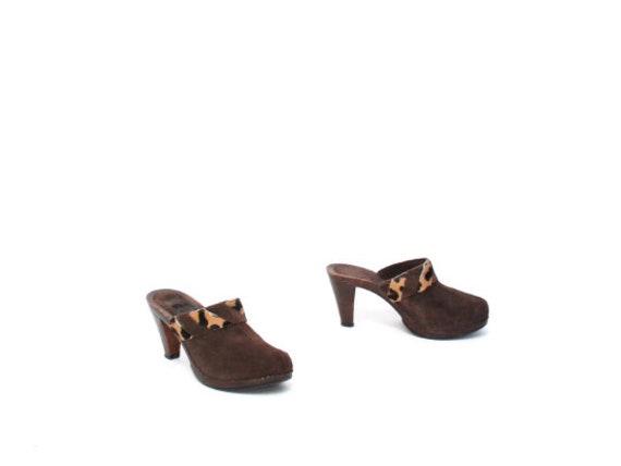 vintage WOMEN'S brown cowhide MULES size 7 slip o… - image 4