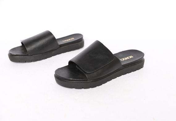 vintage 1990s BLACK open square BONGO brand mules… - image 1