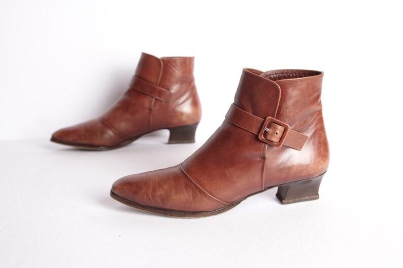 e69c3774acb1d vintage women's BIKER chelsea booties size 7 women's black leather ankle  boots slides