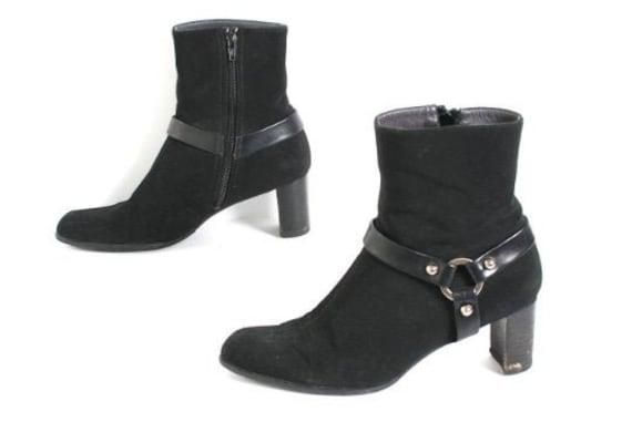 vintage CHELSEA style BLACK harness PLATFORM boots