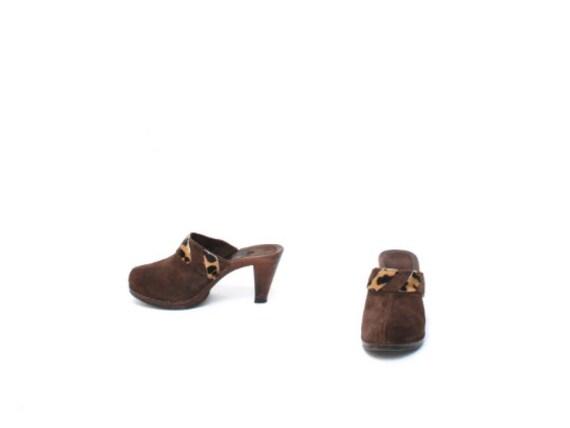 vintage WOMEN'S brown cowhide MULES size 7 slip o… - image 3