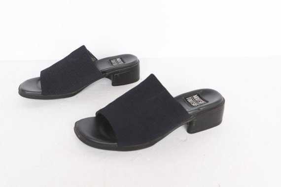 vintage 1990s BLACK open square platform mules wo… - image 1