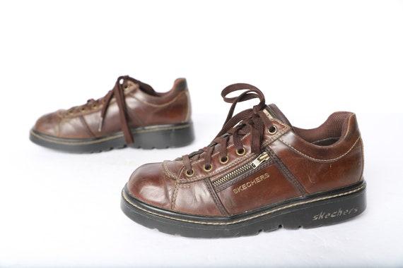 vintage SKECHERS brown zipper pocket doc marten's style platform women's size 7.5 shoes chunky DAD shoes great condition