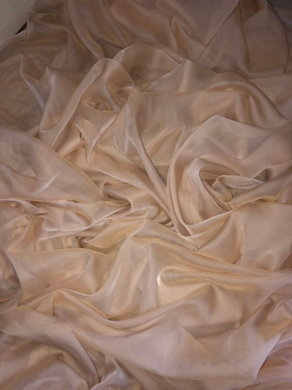 "3 MTR BLUE CATIONIC TWO TONE SHEER BRIDAL DRESS CHIFFON FABRIC...58/"" WIDE £7.50"