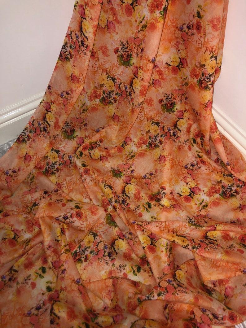 1 mtr peach floral digital print 100/% cotton fabric...45\u201d wide