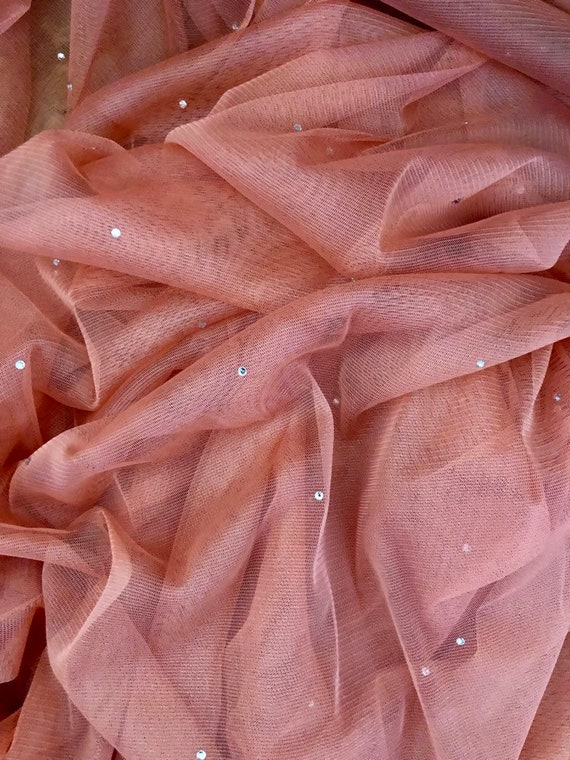 "3 MTR SOFT CORAL PEACH TULLE STUDDED BRIDAL//DECORATION NET FABRIC..45/"" WIDE NEW"