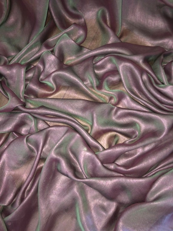 "147cm 1 mtr purple//gold shimmer chiffon dress fabric..58"" wide"