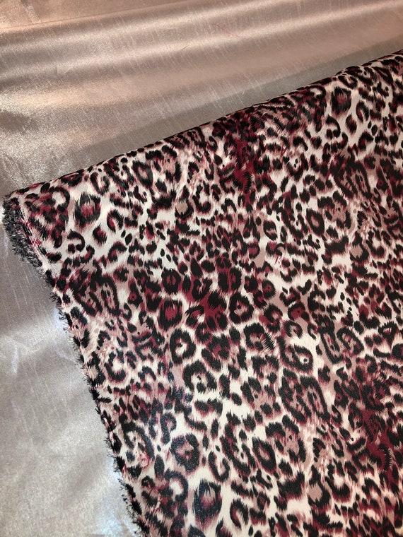 "147cm 1 mtr purple leopard animal print dress polyester crepe fabric..58"" wide"