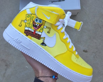 99cf9f7ff9 Custom Nike Air Force 1 - Spongebob - Custom Shoes - Hand painted - Nike  Air Force One - Nike Custom Sneakers - Nike - AF1 - Custom Kicks
