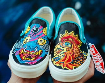 a445d76fed5f4 Custom Vans Vans Slip On Rhino Custom Shoes Hand painted | Etsy