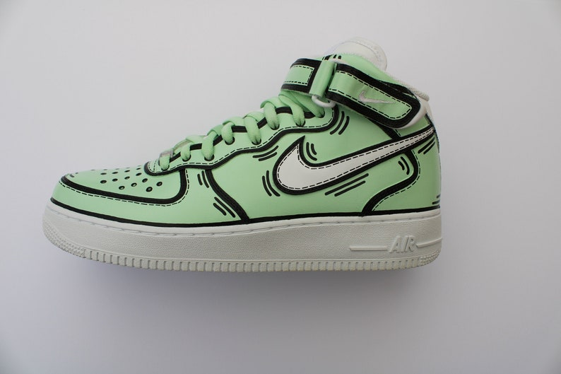 9879cc10f3 Custom Nike Air Force 1 Mint X Blank Lines Nike Air Force | Etsy