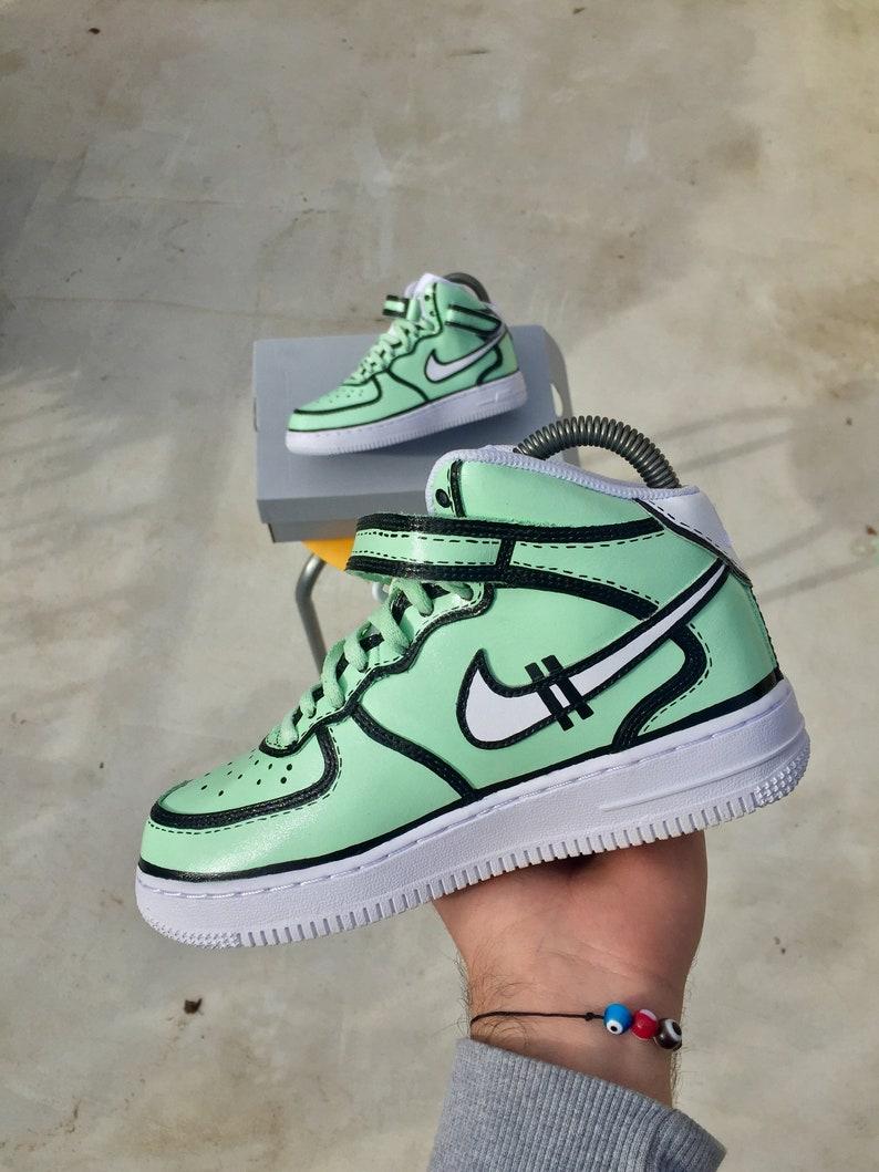 3141db2d32c6 Custom Nike Air Force 1 Mint X Blank Lines Nike Air Force