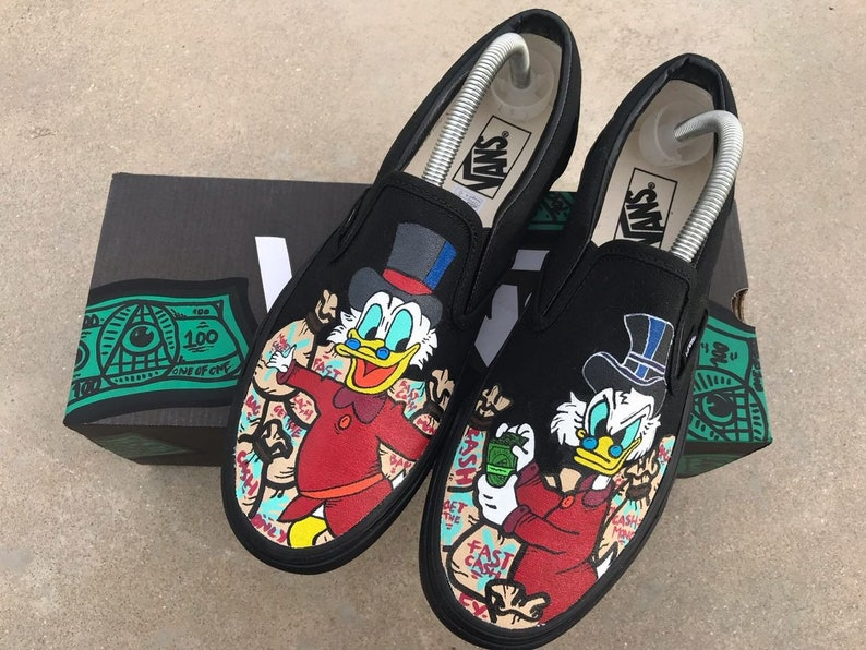 3d7a30e4cfe7b Custom Vans - Scrooge Vans Slip On - Hand painted - Vans - Custom Kicks -  Custom Slip On - Sneaker Shoes - Custom Shoes