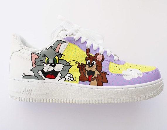 Custom Nike Air Force 1 Tom & Jerry Custom Schoenen Hand geschilderd Nike Air Force One Custom Sneakers Nike AF1 Custom Kicks
