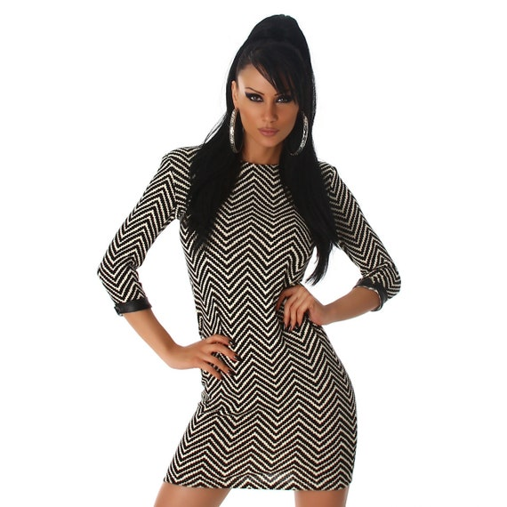 Knitted tunic-Dress in herringbone M/38/10 UK