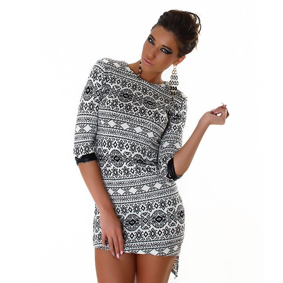 Knitted tunic-Dress snowflake M/38/10 UK