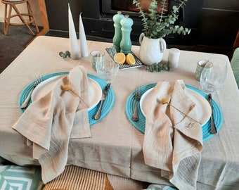 Natural Tablecloth- HANDWOVEN, European Flax Linen, Oeko-Tex Cotton