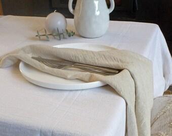 White Tablecloth- HANDWOVEN, European Flax Linen, Oeko-Tex Cotton