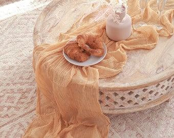 Saffron Cheesecloth Table Runner
