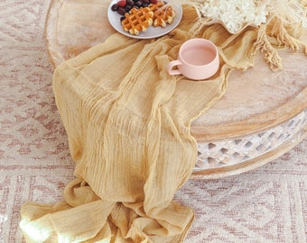 Gold Cheesecloth Table Runner