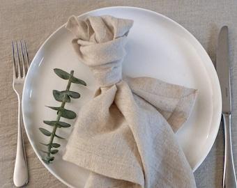 Set of 6 Natural Napkins- HANDWOVEN, European Flax Linen / Oeko-tex Cotton