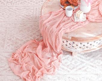 Peach Cheesecloth Table Runner