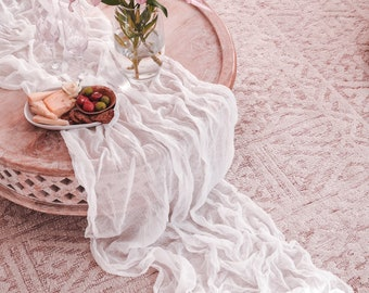 White Cheesecloth Table Runner