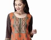 Ladies Indian Kurti Pakistani Kurta American Crepe Short Digital  Print Tunic Tops