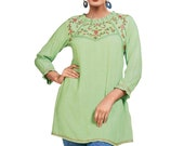 Women Indian Kurti Kurta Soft Rayon Embroidered Short Tunic Tops Shirt Ethnic Dress