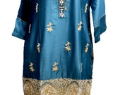 Sufia Fashions® Women Indian Kurti Kurta Teal Sequence Work Embroidery Silk Designer Stitched  Tunic Tops by Sufia Fashions