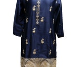 Women Kurti Kurta Greyish Blue Sequence Work Embroidery Silk Designer Pakistani Stitched Dress Tunic Tops by Sufia Fashions