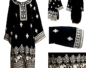 Kurti Kurta For Women Indian Pakistani Dress Velvet Sequence Work Embroidery Black Designer Stitched  Tunic Tops by Sufia Fashions