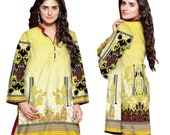 Women Indian Pakistani Kurti Cotton Designer Digital Print Stitched  Tunic Tops UK-Stock