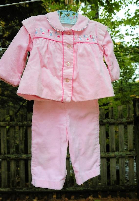 Vintage Girls Toddler 2 Piece Pink Pant Set / Mous